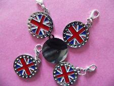 UNION JACK DIAMANTE BRITISH FLAG LARGE ENAMEL clip on charm for charm bracelets