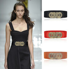 Vintage Wide Waistband Black Red Elastic Corset Dress Belt Ceinture Buckle Band