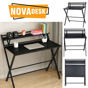 Office Workstation Writing Desk 2-Tier Foldable Computer Table PC Laptop Study