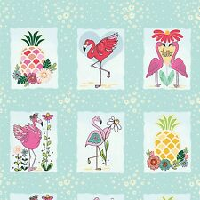 Flamingo Fever Lets Flamingle 35 inch panel Cotton print Fabric Adornit