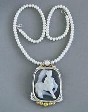 Vintage Centaur Cameo Sterling Silver Pendant Pearl Necklace