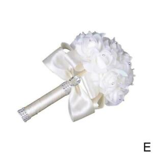 Crystal Rose Pearl Bridesmaid Wedding Bouquet Bridal Artificial  Flower
