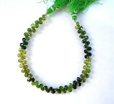 "Shaded chrome green TOURMALINE faceted pear beads AA+ 5.5-6mm 8"" strand"