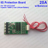 20A 5S 18V 18650 Li-ion lithium Cell BMS Battery PCB Protection Board w/Balance