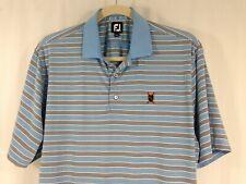 FootJoy Mens Short Sleeve Blue Black White Stripe Polo Golf Shirt Xl