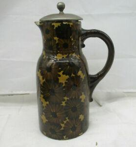 """ART Deco Keramik Krug Kanne & Siebdeckel """"Blüten"""" No. IV 1 ~ 1920/30 Jahre"""