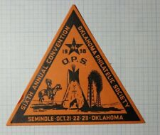 Ops 1938 Convention Seminole Ok Native American Philatelic Souvenir Ad Label