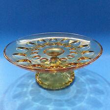 Vintage Light Amber Glass Thumbprint Design Round Pedestal Cake Plate