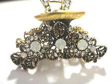 New Opal Clear Crystal & Rhinestone Antique Gold  1 3/4'' Hair Claw Clip