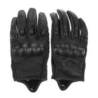Motorcycle Protective Armor Black Short Leather Gloves Mesh Riding Racing Bike