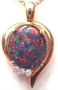 Fashion Opal Pendant Natural Black Triplet Opal Pendant Opal Size 12x10mm