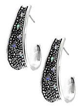 Silver Tone Dangle Drop Open Hoop AB Rhinestone Women Fashion Jewelry Earrings
