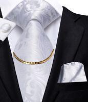 Mens Tie Lot Silk Necktie Set White Floral Novelty Hanky Cufflinks Business Prom