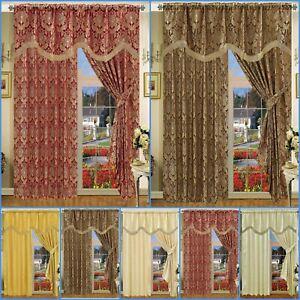 Amazon Jacquard Curtain Pair Pencil Pleat Fully Lined Ready Made+Pelmet+Tie back