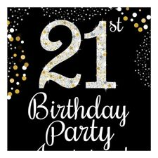 21st Birthday Gold Invitation Cards Small 8 Pack