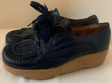 Vintage Famolare Get There Women's Size 6M Blue Wavy Wedge Shoes Made In Italy
