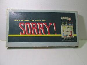Parker Brothers Sorry ! Scorrimento Perseguimento Gioco da Tavolo 1958 gm1248