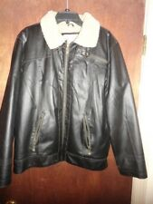 Mens Dark Brown leather Jacket with Fur, Size M