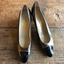 Salvatore Ferragamo Vintage Sample Womens ~8.5N Bronze Black Pumps