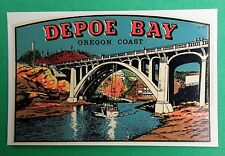 "VINTAGE ORIGINAL 1948 SOUVENIR ""DEPOE BAY"" BRIDGE OREGON COAST WATER DECAL ART"