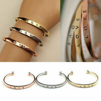 Women Gold/Silver Plated LOVE Bracelet Jewelry Stainless Steel Cuff Bangle Gift
