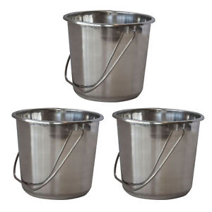 AmeriHome Small Stainless Steel Bucket Set ? 3 Piece