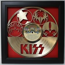 KISS Framed Laser Cut Gold Plated Vinyl Record Shadowbox Wallart