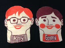 "VINTAGE FELT ""HAPPY"" & ""SCRAPPY"" HAND PUPPETS"