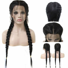 26 inch Braided Lace Synthetic Black Front Wig With Baby Hair Long Straight MN