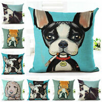 Home Decor Cotton Linen Throw Pillow Case Lovely Dogs Sofa Cushion Cover Square