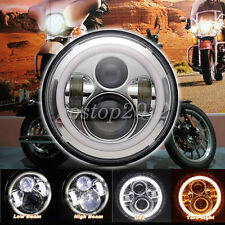 "7"" Motorcycle Halo Angel Eyes Chrome LED Headlight Projector Daymaker For Harley"