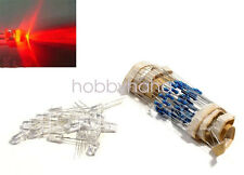 100 pcs LED 5mm Red Water Clear Ultra Bright With Free 12V DC Resistors