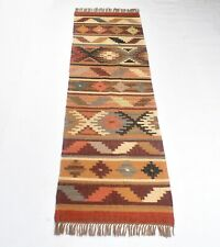 Handmade Indian Jute Wool Kilim Runner Oriental 2.5x8 Feet Rug DN-2031