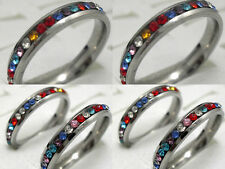 wholesale 20 Silver Women Simulants stone CZ Stainless steel Rings Jewelry lots