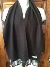 Genuine BURBERRY London England Dark Brown Solid 100% CASHMERE Fringed SCARF