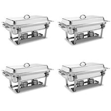 4 Pack Of Stainless Steel Chafer Chafing Dish Full Size 8 Quart Catering Buffet
