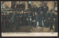 Postcard U.S. Navy Sailors Fencing Lessons Aboard Ship view 1907