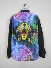 Black Akademics Button Up Dress Shirt With Celestial Lion Graphic / Mens XL