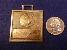"RARE VTG ANTIQUE SILVERPLATED POCKET WATCH FOB, GLOBE WITH ""NOAH HANCOCK, JR."""