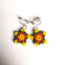 Bright Multicolored Handmade Beaded Star Clip On Earrings, Cute Kids Earrings