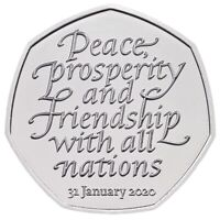 RARE GENUINE Brexit 50p Peace, Prosperity, and Friendship with all nations 2020