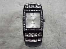 GENEVA Silvertone Rhinestone Black Enamel Hinged Bracelet Watch (D20)