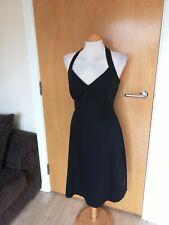 Ladies ZARA Dress Size 10 12 Black Halter Cotton Blend Smart Casual Day Party