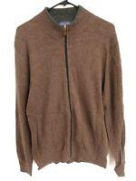 Men's Size Medium(Runs Small) Pendleton Brown Full Zip Rayon Wool Cotton Sweater