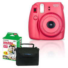NEW Fuji Instax Mini 8 Raspberry Fujifilm Instant Film Camera + 20 Film + Case