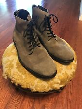 Allsaints Sett Suede Boots Size 42 Men's 9 Gray Brogue Trap With Zip