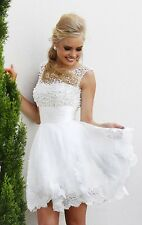 SHORT WHITE WEDDING DRESS. HANDMADE. SIZE 6 IN STOCK AND READY TO SHIP.