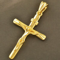 Lucky 9K Yellow Gold Filled Mens/Unisex Cross Pendant,Z1924