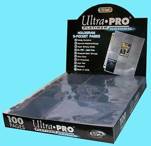 100 ULTRA PRO PLATINUM 9-POCKET Card Pages Sheets Protectors 1 box 209D baseball