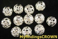 40PCS Silver plate filigree hollow round spacer beads W698